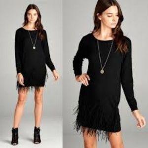 Fringe It Up Black Holiday Dress